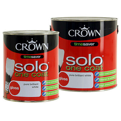 Crown Solo One Coat Gloss White Metal Wood Paint Home Interior Exterior Paints • 12.95£