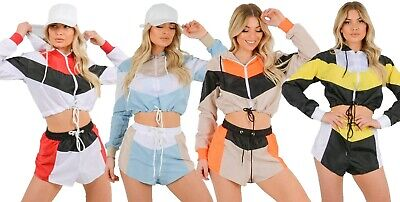Co-ord Festival Shell Suit Set Crop Jacket Shorts Colour Block Contrast Hooded • 14.75£