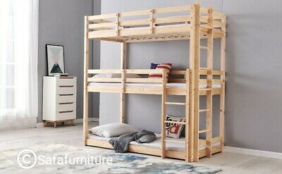 Bunkbed Triple Sleeper Bunk Bed In Solid Pine 3 Tier Bed 3ft Extra Thick Frame • 299.95£