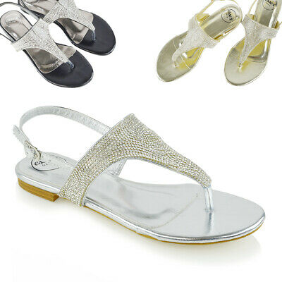 Womens Flat Sandals Slingback Toe Post Ladies Summer Holiday Diamante Shoes • 9.99£
