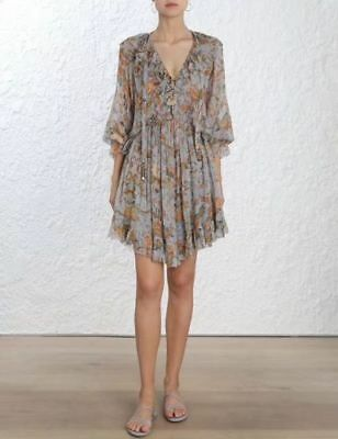 $298 • Buy NWT Authentic Zimmermann Painted Heart Ruffle Dress Size 0 1 2