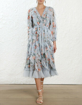 $448 • Buy New With Tag Zimmermann Bowie Waterfall Silk Long Dress $1,200