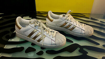 $ CDN53 • Buy Adidas Superstar White With Gold Trim Mens Size 9 Good Shape Running Shoes