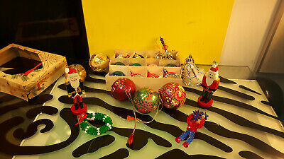 $ CDN99 • Buy Vintage Christmas Ornaments Lot Of 22 Indent Balls Soldiers West Germany Poland