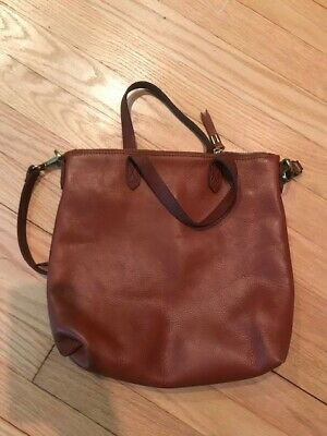 45e24dbf9 MADEWELL English Saddle Leather Zip Top Transport Carryall Tote Bag Purse •  60.00$