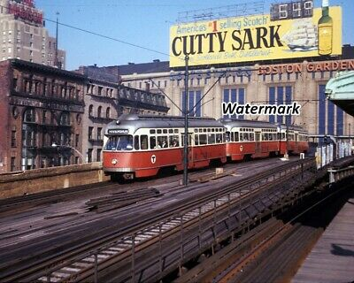 1960's Boston Garden North Station Streetcar Stop Color  8 X 10 Photo Picture • 6.99$