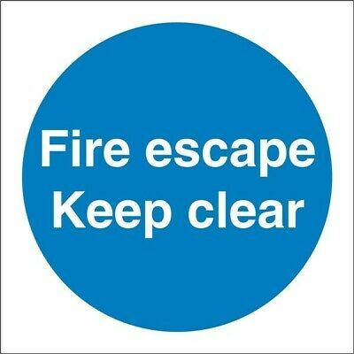 CASTLE PROMOTIONS Fire Escape Keep Clear Sign - Self Adhesive Vinyl - 100mm X 10 • 5.16£