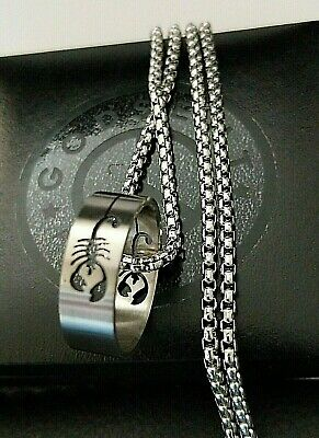 Mens Silver Steel Gothic Biker Scorpion Scorpio Band Ring Necklace Gift 20 - 30  • 17.99£