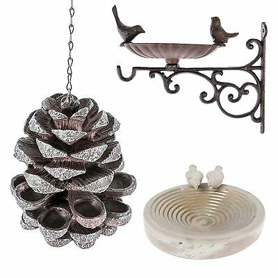Wall Mounted Bird Bath And Bird Feeder With Decorative Birds Garden Ornaments • 18.99£