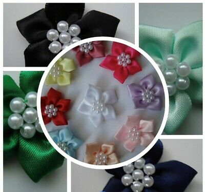 Satin Ribbon Ponsettia Flower With Pearl Embellishment Various Colours  • 2.10£