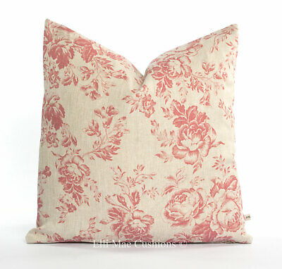 Cabbages And Roses Paris Rose Red Linen Designer Fabric Cushion Pillow Cover • 39.99£