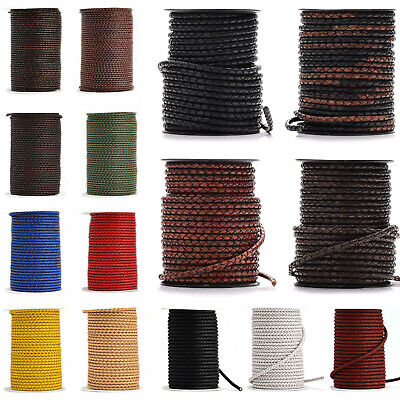 £2.99 • Buy 3mm 4mm 5mm Leather Cord Braided Woven Lace Round Distressed Brown Black