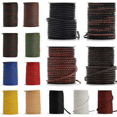£2.99 • Buy 3mm 4mm 5mm Real Braided Leather Cord Round Lace Distressed Brown Black Woven