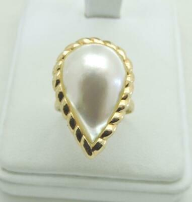 $349 • Buy 14K Yellow Solid Gold Large Mabe Pearl Ring 5.5 Grams Size 9.25