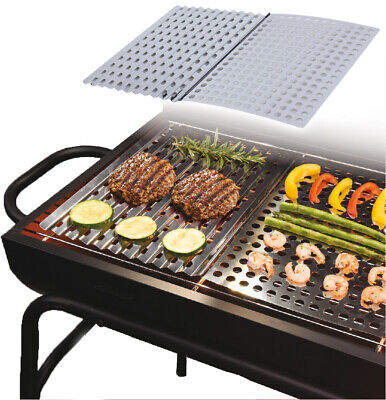 £7.49 • Buy 2 X Large Stainless Steel BBQ Metal Grilling Sheet Easy Clean Barbecue Cooking