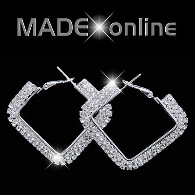 Square Hoop Earrings, Big Sparkle Diamante Crystal Bling, Silver, Gold, AB • 4.99£