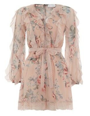 $298 • Buy New With Tag AUTH Zimmermann Bowie Frill Silk Playsuit $695 Size 1