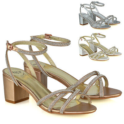 £20.99 • Buy Womens Low Heel Sparkly Shoes Ladies Bridal Party Diamante Strappy Sandals Size