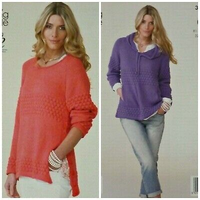KNITTING PATTERN Ladies Cable Jumper & Cardigan Cottonsoft DK King Cole 3954 • 3.95£