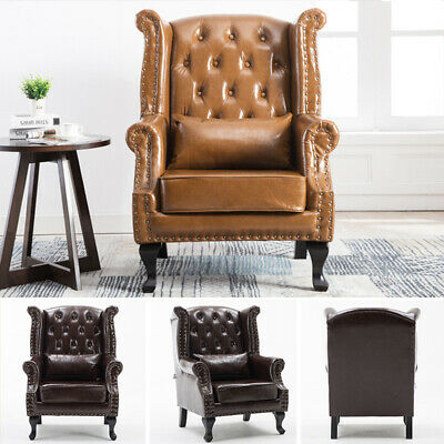 £249.95 • Buy Distressed Tan Leather Chesterfield Occasional Wing Chair Fireside Anne Armchair