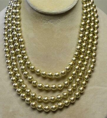 JOAN RIVERS GOLD PLATED HAND KNOTTED 8mm GOLD CZECH GLASS PEARL 75  NECKLACE NOS • 22.49$