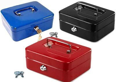 Cash Money Box, Petty Cash Lockable With 2 Keys With Removable Tray 4,8, 12 Inch • 6.99£