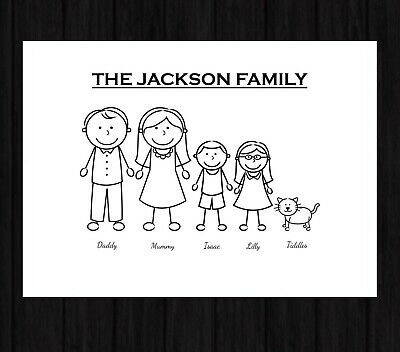Personalised Family Stick Man Print Typography Love Home Decor Image Poster • 3.99£