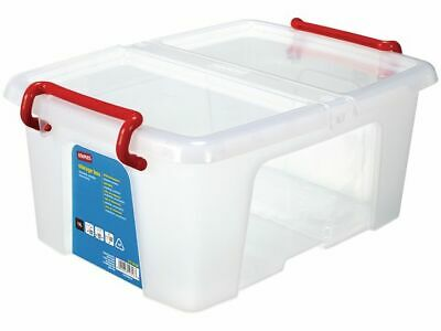 Staples Plastic Storage Box With Lid Stackable Clear 6.3 L Cds & Dvds New + 24h • 7.95£