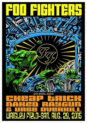 Reproduction  Foo Fighters - Wrigley Field ,  Poster, Grunge, Home Wall Art • 13.50£