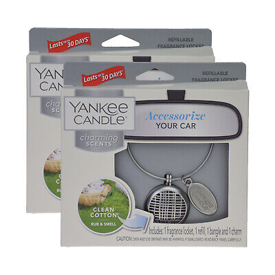 2 Yankee Candle Charming Scents Clean Cotton Car Fragrance Locket • 16.99£