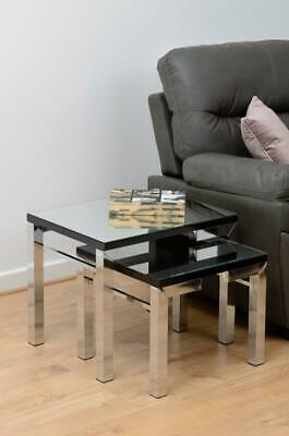 Valencia Nest Of Tables Mirrored With Black Trim • 110.24£