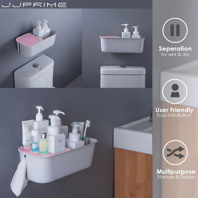 JJPRIME Blue Toilet Paper Roll Holder Storage Bathroom Storage Box Wall Stick UK • 4.99£