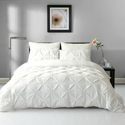 AU39 • Buy Single/Double/Queen/King Diamond Embroidery Pintuck Quilt/Duvet Cover Set-Snow