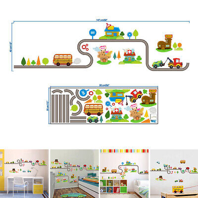 Cartoon Car Highway Track Wall Stickers For Kids Childrens Bedroom Decor Boys • 4.43£