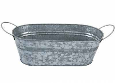 Premium Finish Galvanised Oval Planter With Handles - Home &  Garden - New  • 7.99£