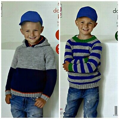 £3.95 • Buy KNITTING PATTERN Childrens Easy Knit Round Neck &Hooded Jumpers DK KingCole 5260