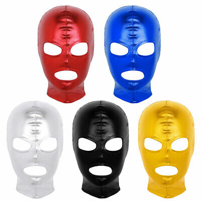 £4.35 • Buy Unisex Shiny Lingerie Latex Face Cover Headgear Hood Sexy Role Play Costume