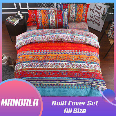 AU36.79 • Buy Striped Mandala Quilt Doona Duvet Cover Set Single/Double/Queen/King Size Bed