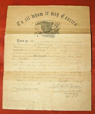 Civil War Union Army Discharge Papers Richard Hunt,NY 2nd Mounted Rifles,1865 • 149.99$