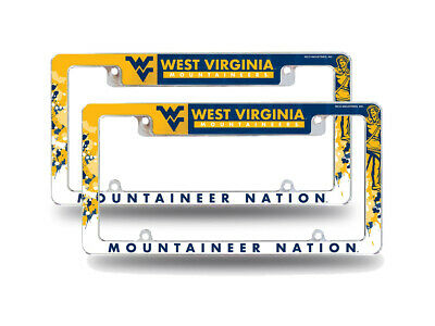 $ CDN41.10 • Buy WVU Mountaineers NCAA (Set Of 2) Chrome License Plate Frames With Bold Design