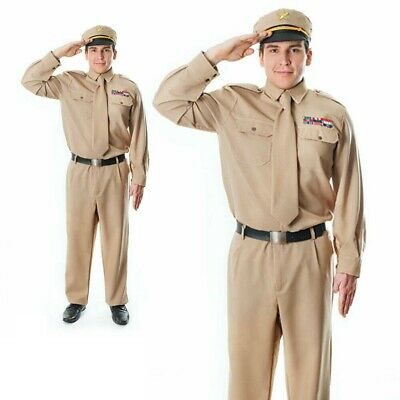 Mens WW2 Army General Costume 40s US Soldier GI Uniform Fancy Dress Outfit • 32.99£