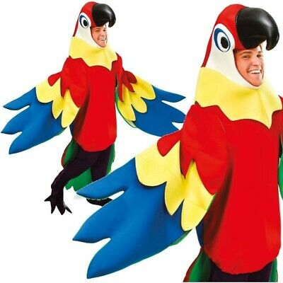 Parrot Outfit Bird Hawaiian Adult Fancy Dress Costume Unisex Pirate New • 41.99£