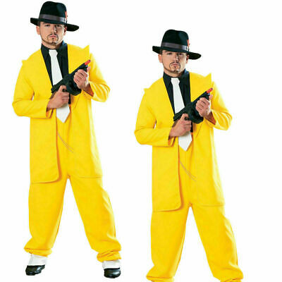 Yellow Zoot Suit Mens Gangster Fancy Dress Mask Film Star Jim Adult Costume • 23.49£