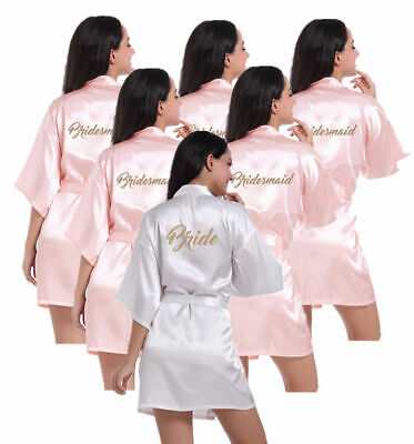£6.99 • Buy UK Satin Silk Personalized Wedding Robe Bridesmaid Bride Mother Dressing Gown
