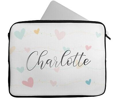 £15.99 • Buy Personalised Any Name Heart Design Laptop Case Sleeve Tablet Bag Chromebook 6