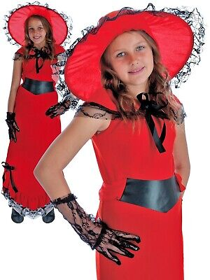 £9.99 • Buy Childrens Scarlet O Hara Costume Girls Victorian Fancy Dress Book Week Outfit