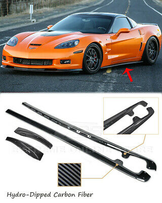 HYDRO CARBON FIBER Side Skirts ZR1 Style For 05-13 Corvette C6 Z06 W/ Mud Flaps • 289.99$
