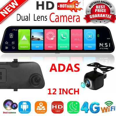 AU215.18 • Buy Android 8.1 12in Car DVR GPS WIFI BT Dual Lens Rearview Mirror Dash Camera