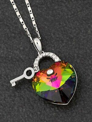 Genuine Swarovski Necklace Rainbow Heart & Key By Equilibrium Jewellery • 19.99£