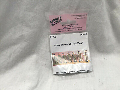 LANGLEY MODELS F170c  - 00 / 4mm /  1/76 SCALE 7x ARMY PERSONNEL ' AT EASE ' KIT • 8.99£